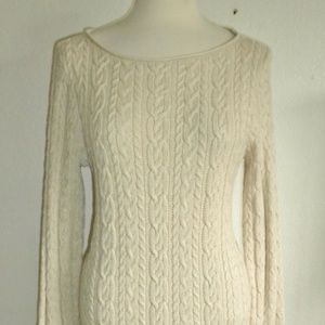 RALPH LAUREN LARGE NATURAL BEIGE CABLE SWEATER